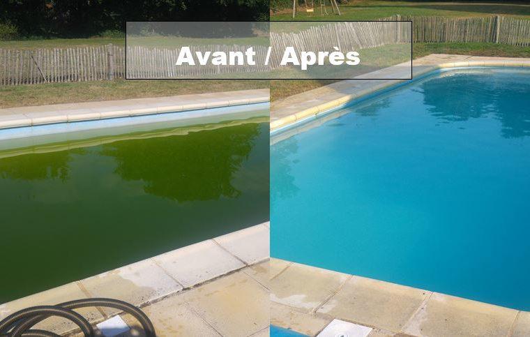 Avant après traitement eau piscine morbihan